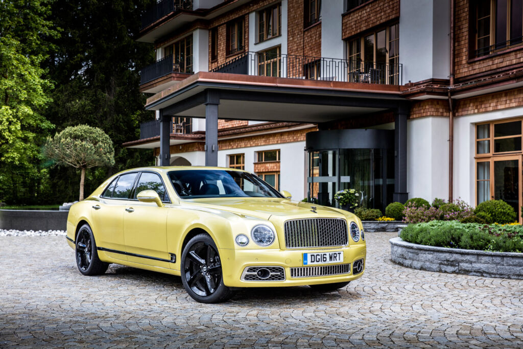 Picture of a mustard colour Bentley Mulsanne