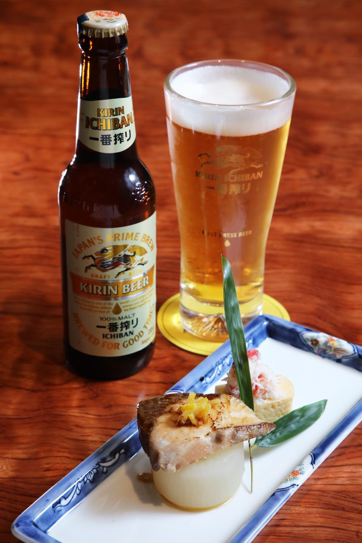 Kirin Ichiban Beer with Grilled Yellowtail and Snow Crab Tamagoyaki