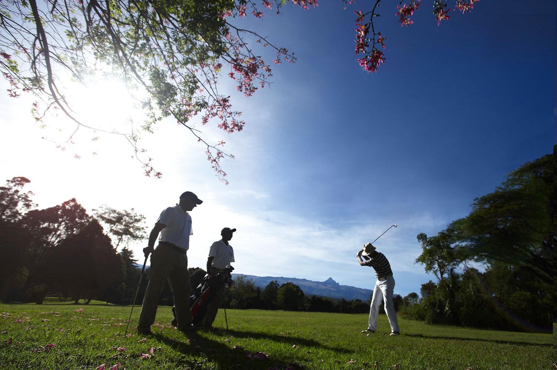 Golfers playing on Mount St Kenya