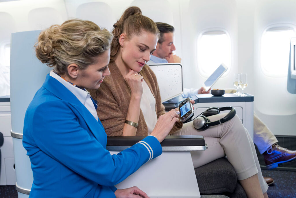 An example of the technology on-board KLM Business Class