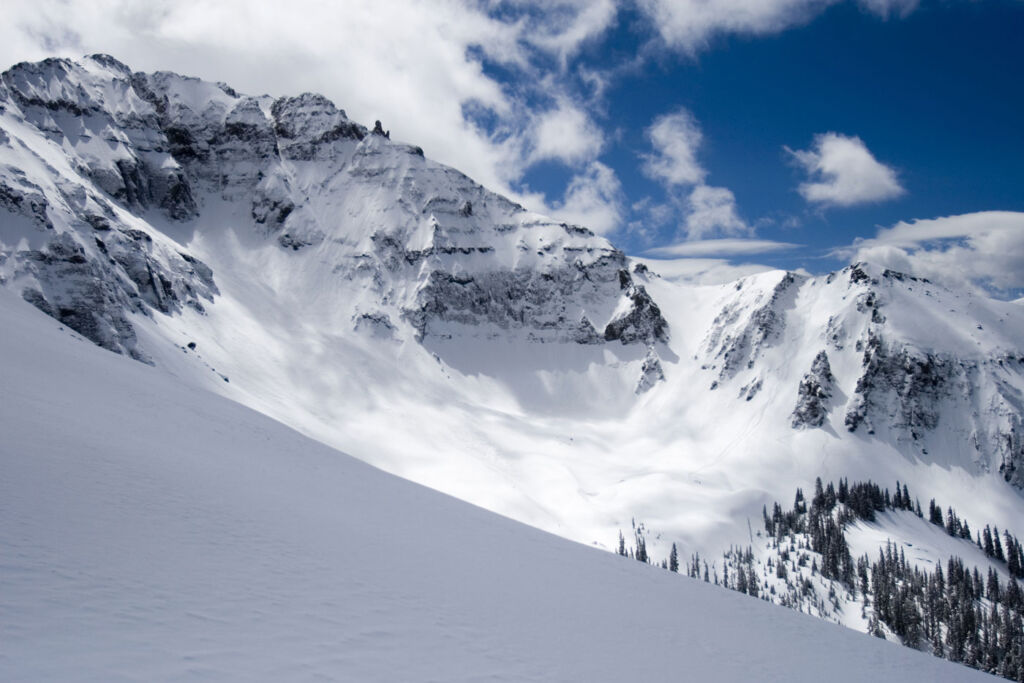 The snow covered slopes in Colorado