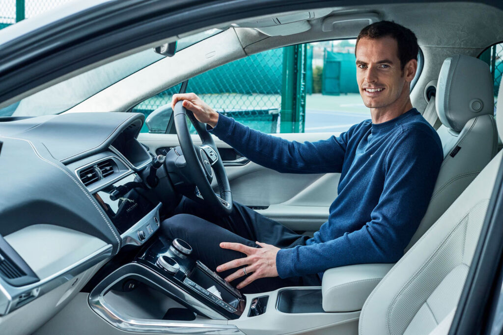 Andy Murray inside his new  Jaguar I-PACE