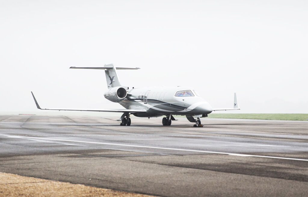 The Learjet 75 on the runway
