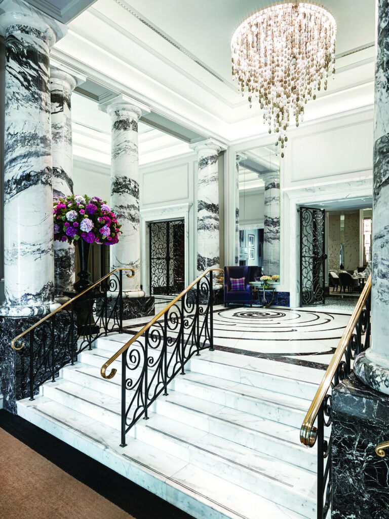 The lobby and staircase at the Langham, London