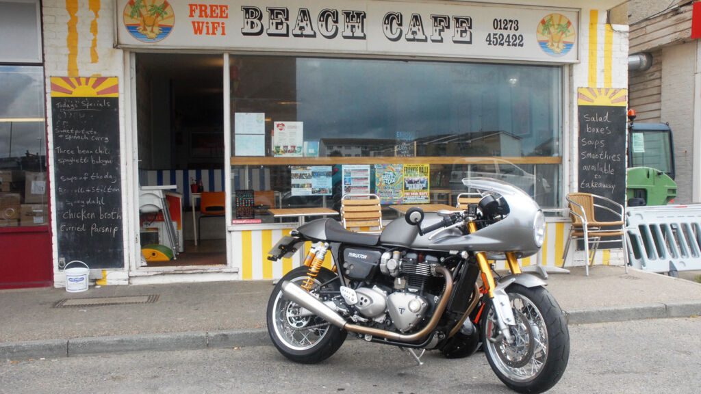 Triumph Thruxton R outside the Beach Cafe