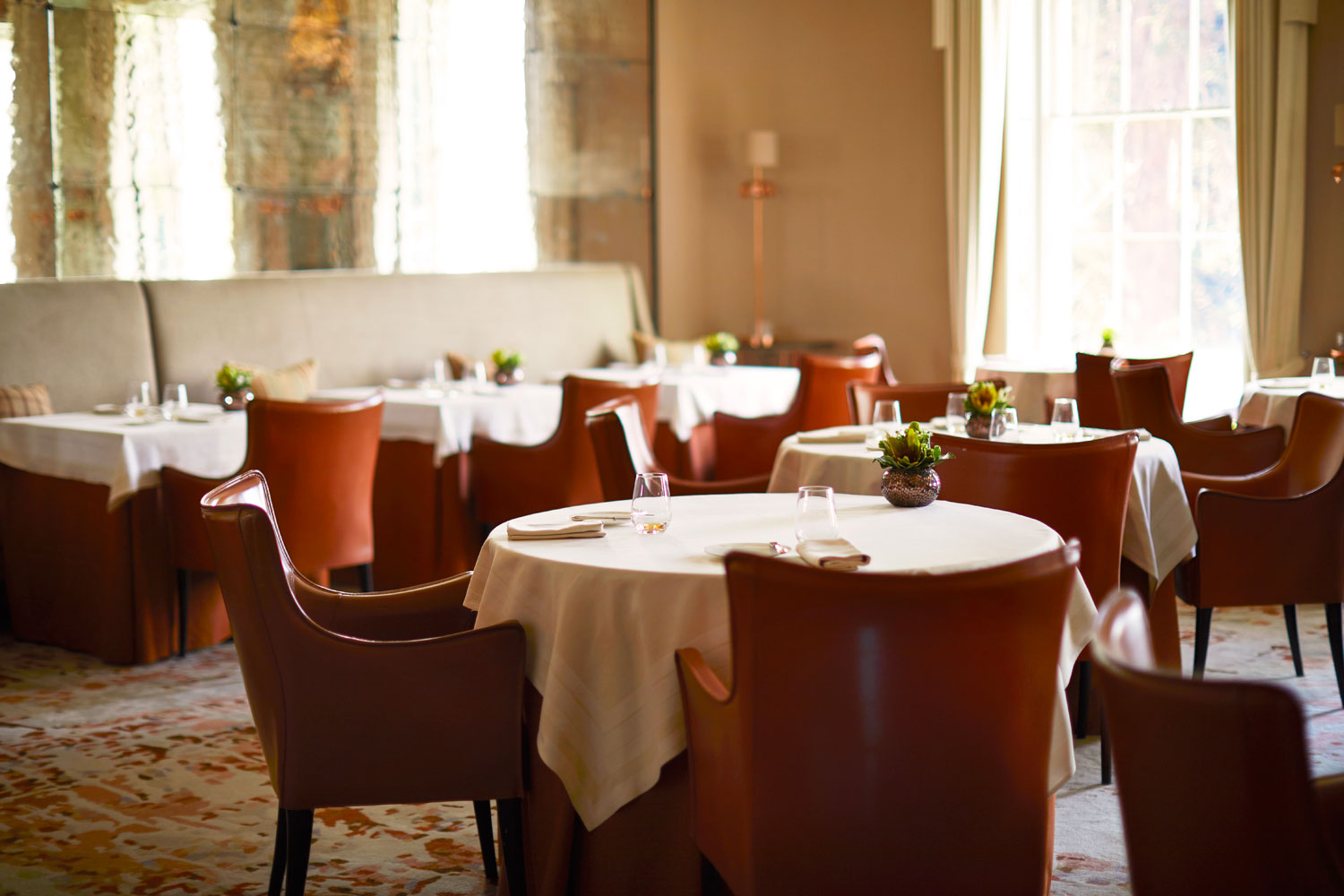Inside the restaurant at Coworth Park