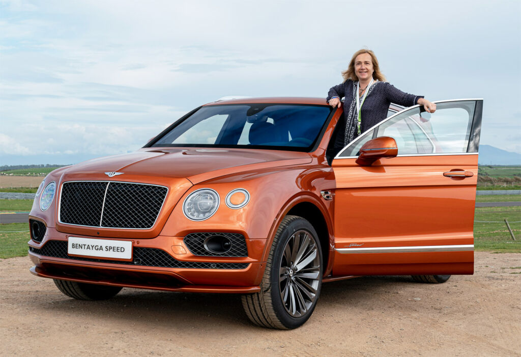 Gina Baksa with the Bentley Bentayga Speed in Anglesey.
