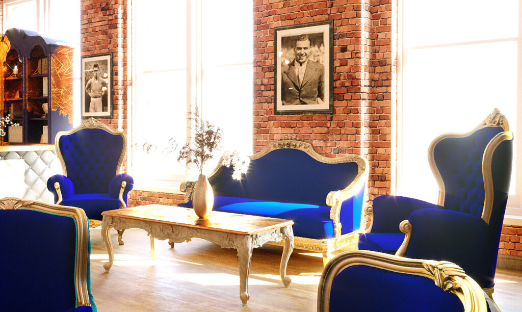 A picture of Dixie Dean in one of the lounge areas