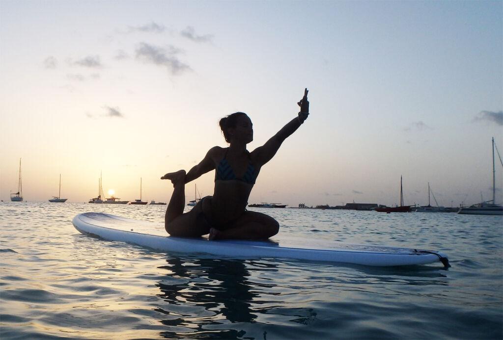 Practicing Yoga in Barbados.