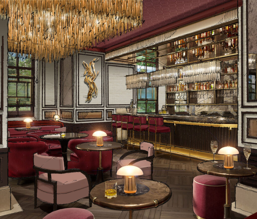 A rendering of the Pine Bar at the Biltmore, Mayfair.