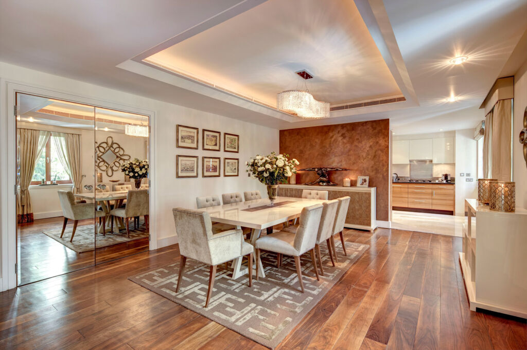 Dining area at Lancelot Place, Knightsbridge.