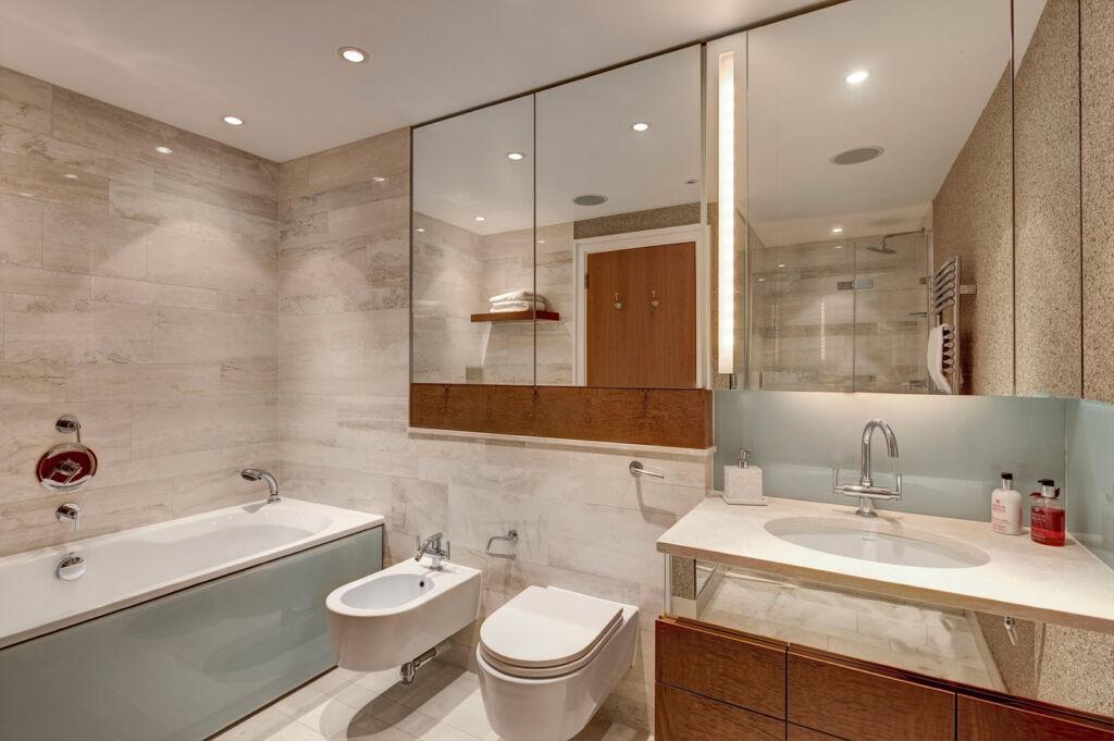Bedroom 1 en-suite at Lancelot Place, Knightsbridge.