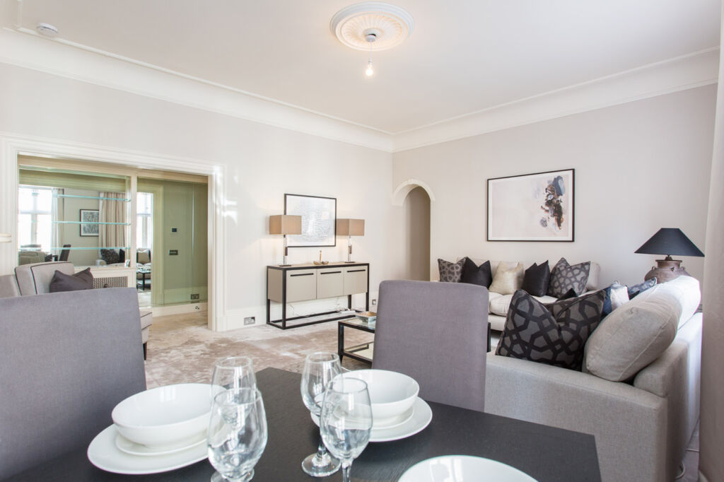 The dining area inside 105 Mount Street, Mayfair, London.