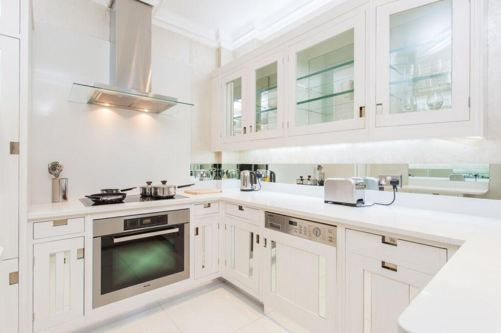 The bespoke kitchen inside 105 Mount Street, Mayfair, London.