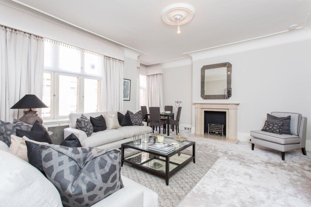The living room inside 105 Mount Street, Mayfair, London.