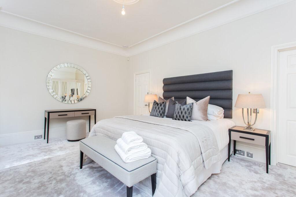 The principal bedroom suite inside 105 Mount Street, Mayfair, London.