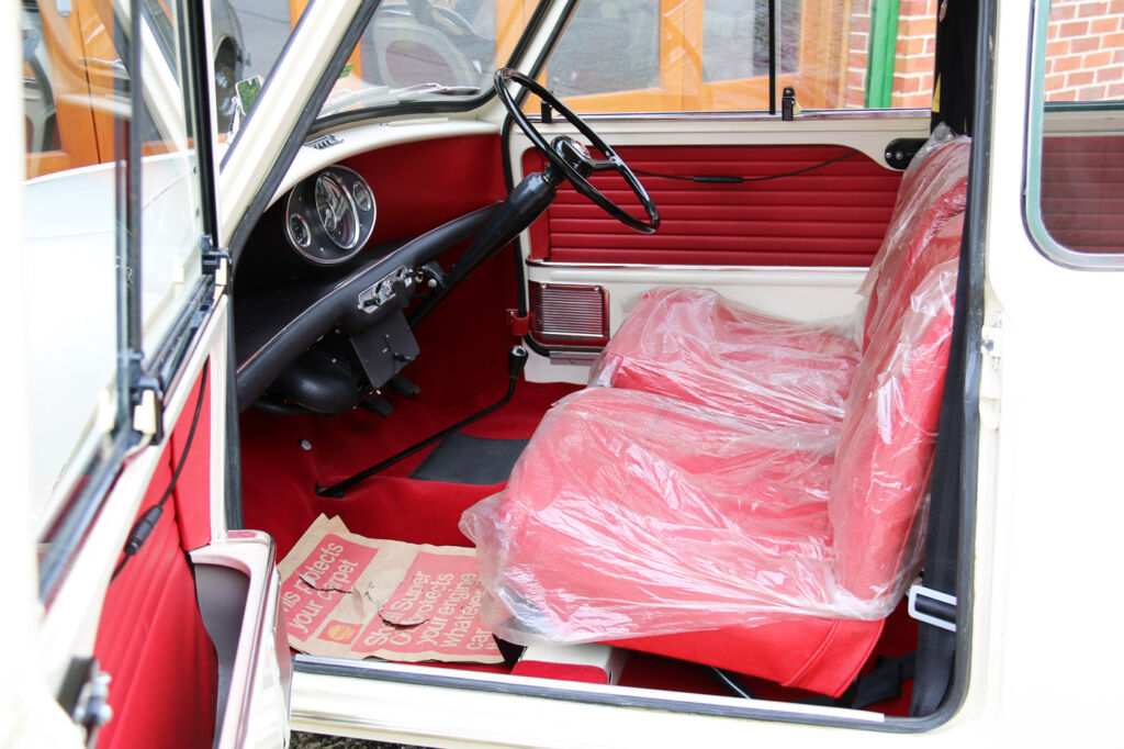 Inside, the Mini still retains the original plastic seat covers