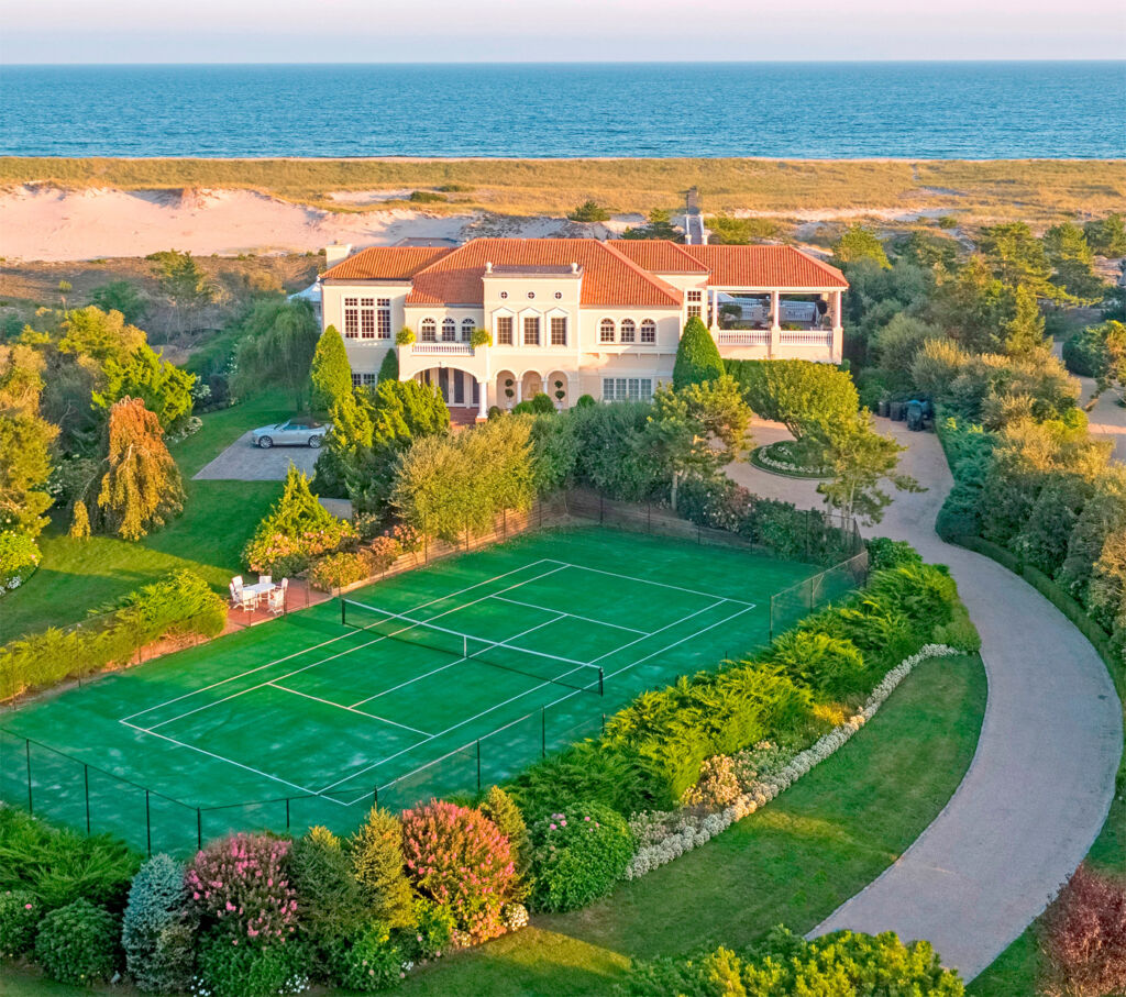 Luxurious waterfront mansion in Southampton, New York.