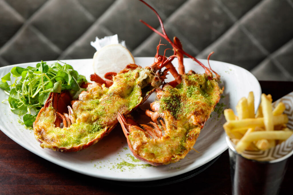 Half or whole native lobster Thermidor, Pommes Frites, Garden salad.