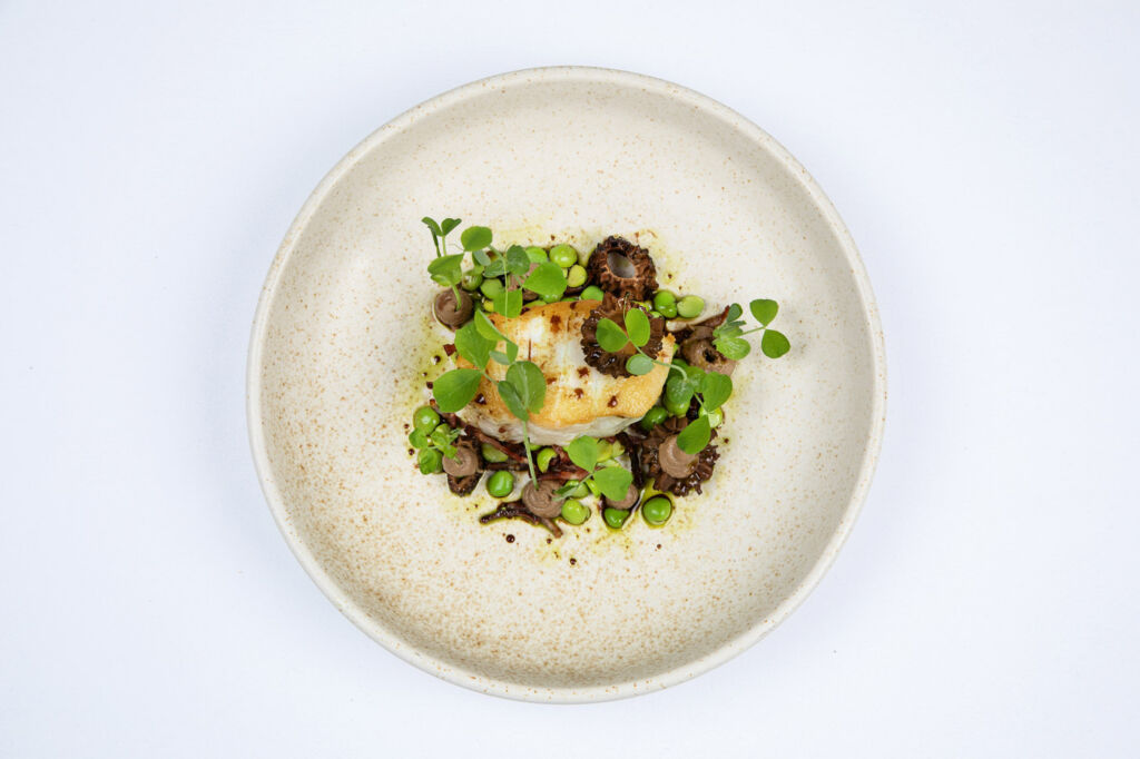 The Samling Cod, bacon, mushroom and peas.