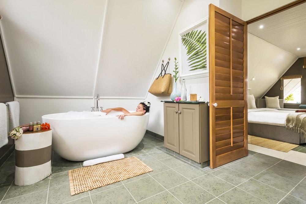 A villa bathroom at Alphonse Island Resort