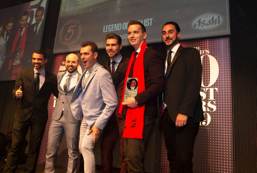 American Bar (London, UK) collects the Legend of The List award, sponsored by Asahi, handed over by Gareth Morgan, Global Brand Advocacy Manager, Asahi Europe Ltd.