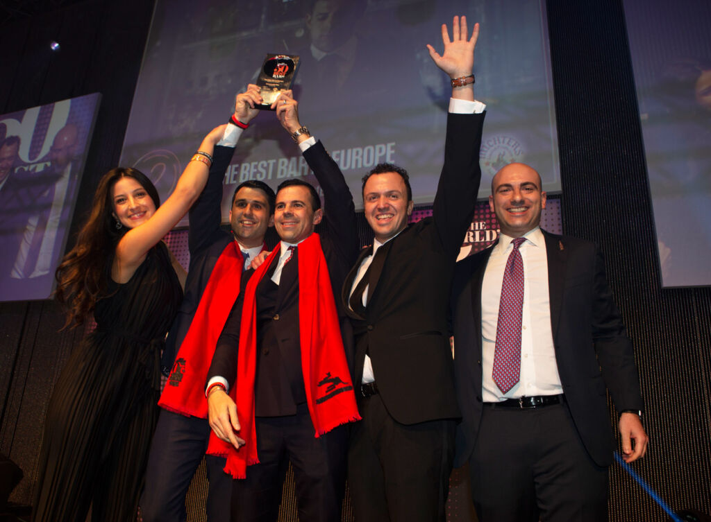 Connaught Bar (London, UK) is The Best Bar in Europe, sponsored by Michter's, the award is handed over by Matt Magliocco, Vice President, Michter's.