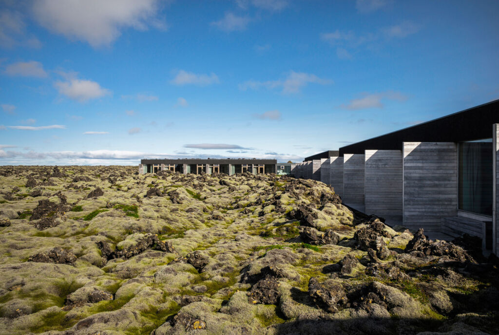Outside the Silica Hotel in Iceland