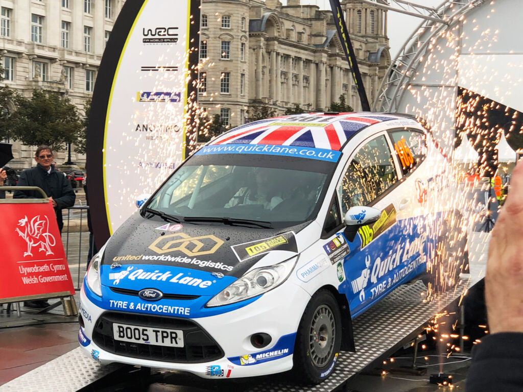 Louise Cook at the start of the Wales Rally GB in Liverpool