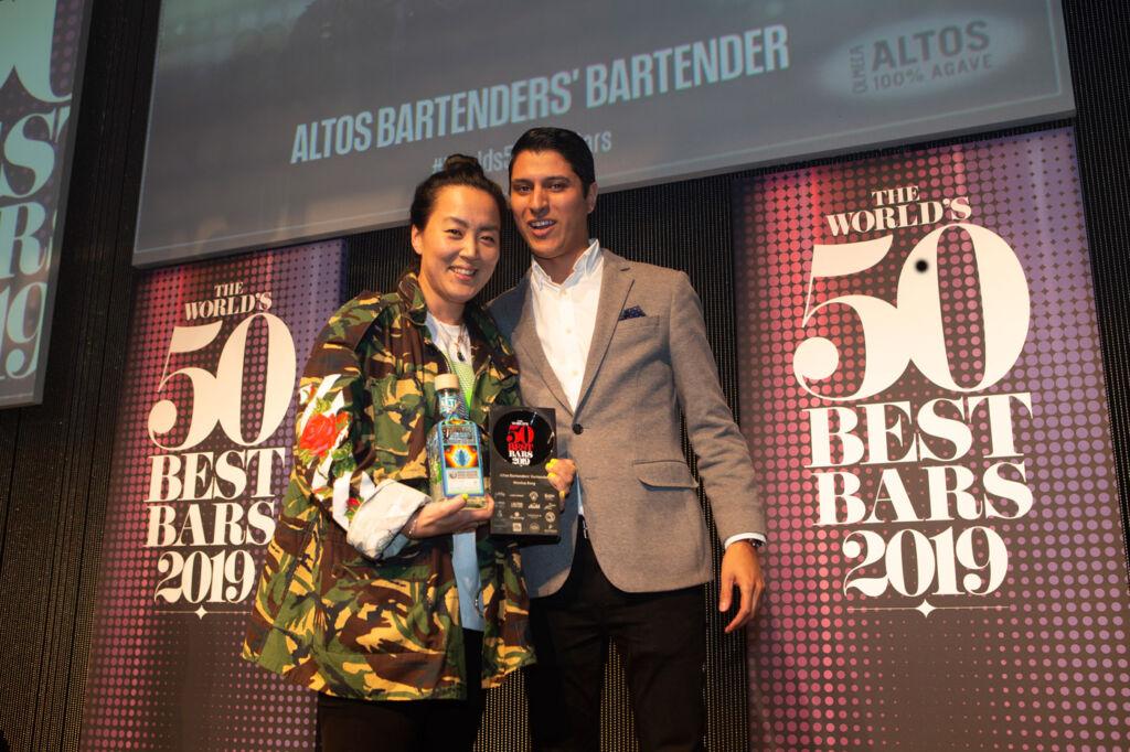Monica Berg collects the Altos Bartenders' Bartender Award.