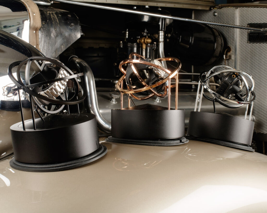 The Bernard Favre Planet Double-Axis Watch Winder uses a gimbal system