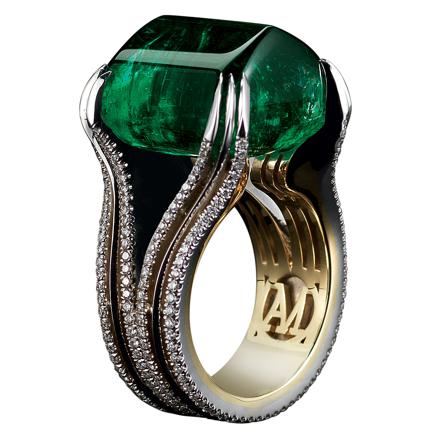 Alexandra Mor's Sugarloaf Cab Emerald & Diamond Ring