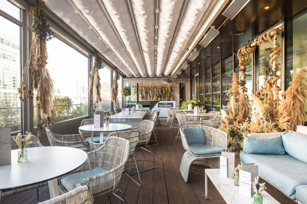 The decor on the Talisker terrace takes inspiration from the Isle of Skye.