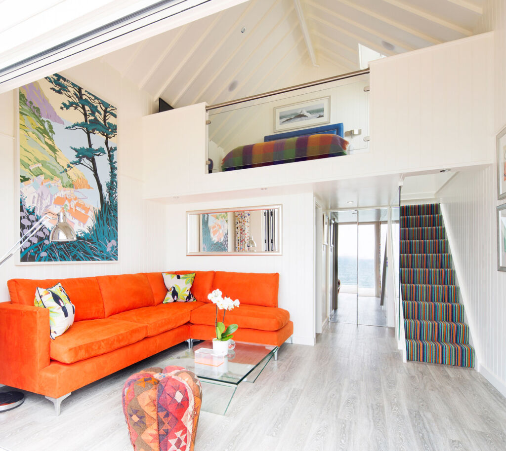 Cary Arms Devon Beach Hut interior.