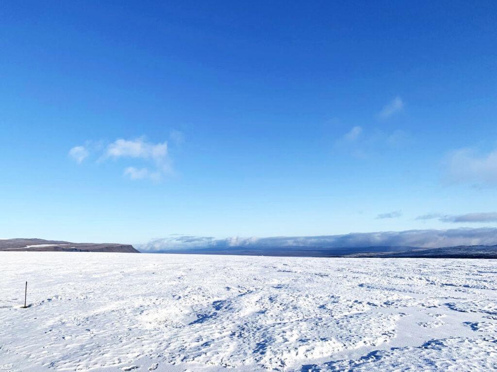 Blue sky over Langjökull glacier