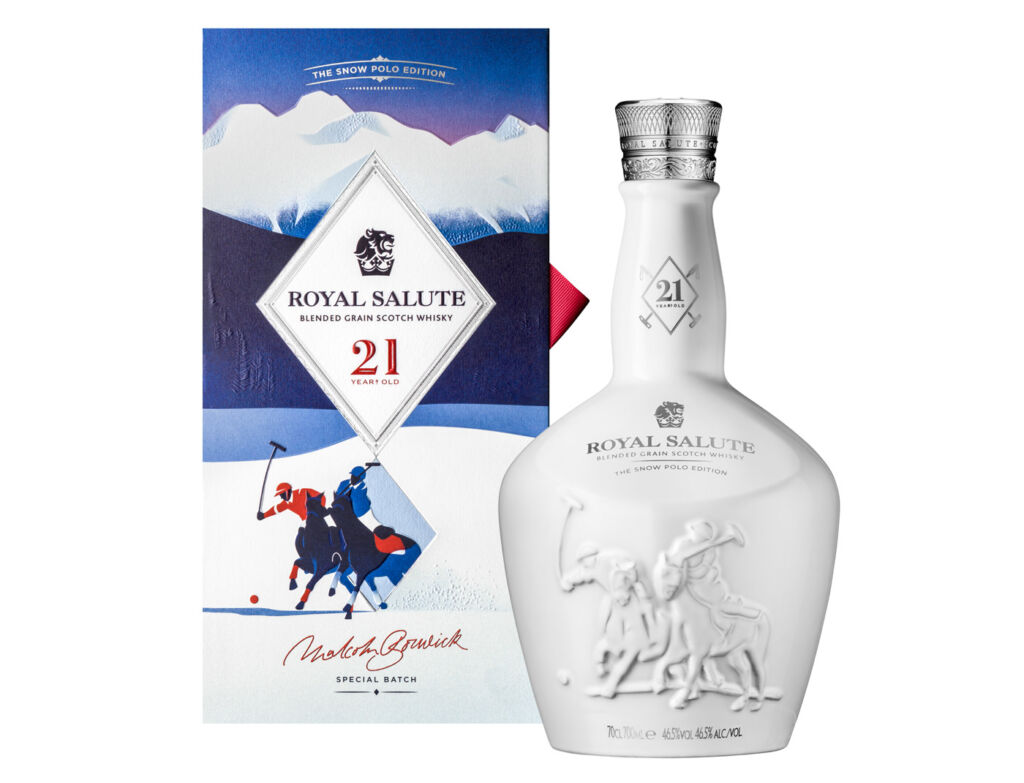 Royal Salute 21 Year Old Snow Polo Edition is presented in a vibrant and stunning gift box inspired by vintage Alpine scenes