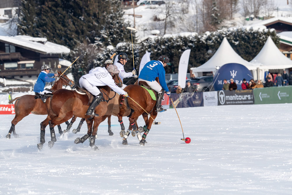 Action from 17th Bendura Bank Snow Polo World Cup