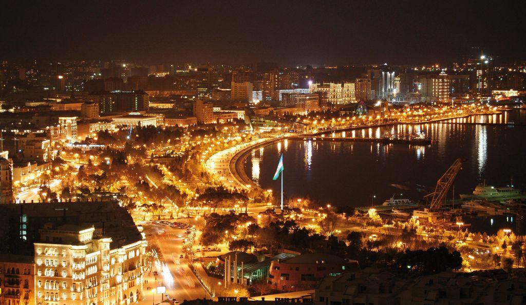 Azerbaijan is a spectacular sight at night