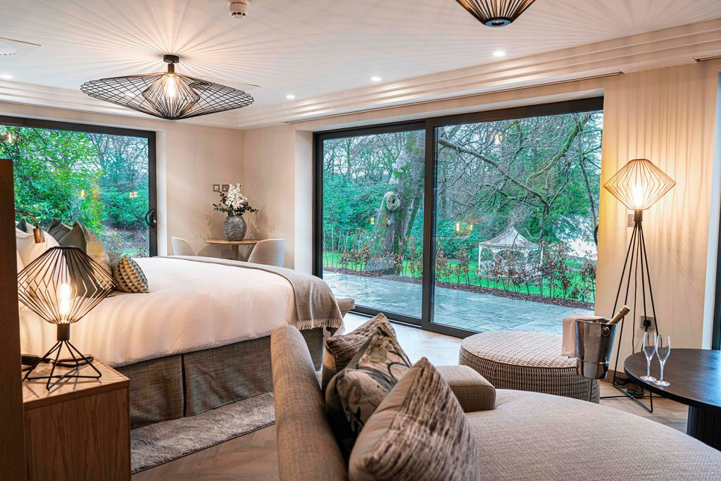 Bedroom in the new luxury cabins at Storrs Hall Lake Windermere