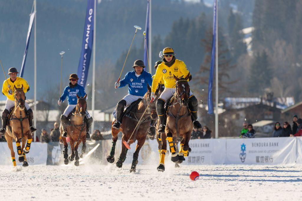 Bernd Gruber and Corum at 18th Bendura Bank Snow Polo World Cup Kitzbühel 2020
