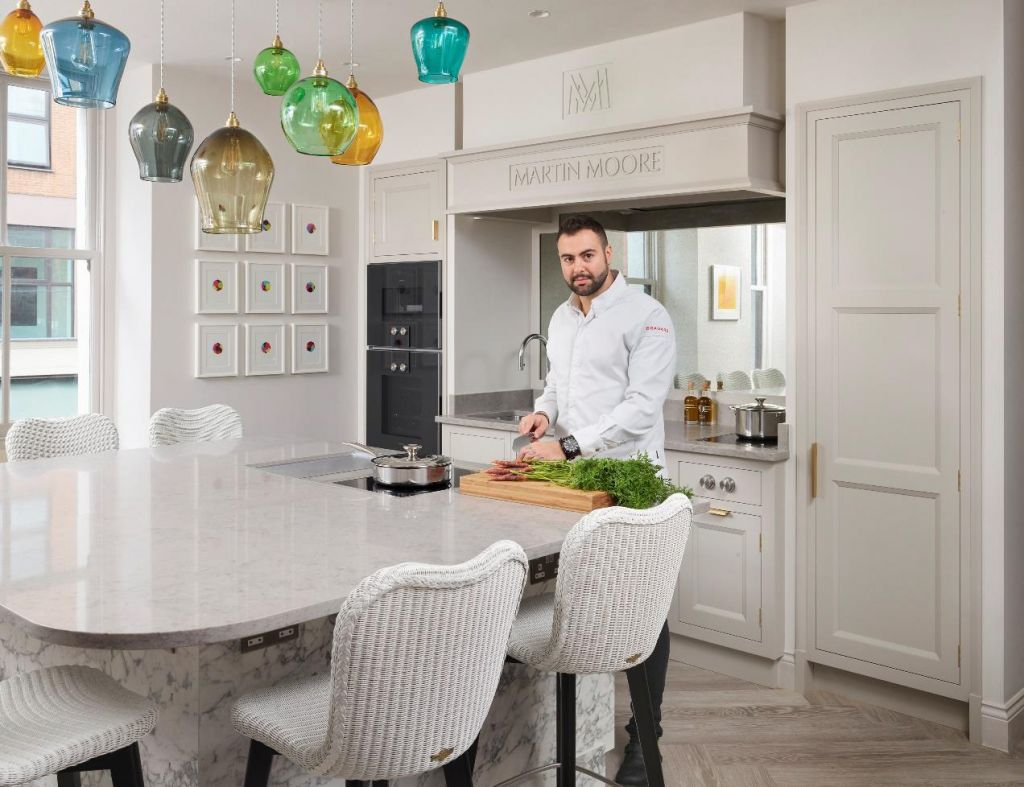 Chef Asimakis Chaniotis in the new Pied à Terre kitchen designed by Martin Moore