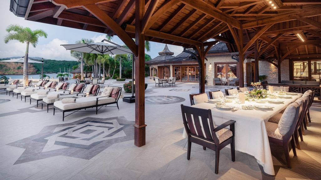 Dining on Calivigny Island in the West Indies