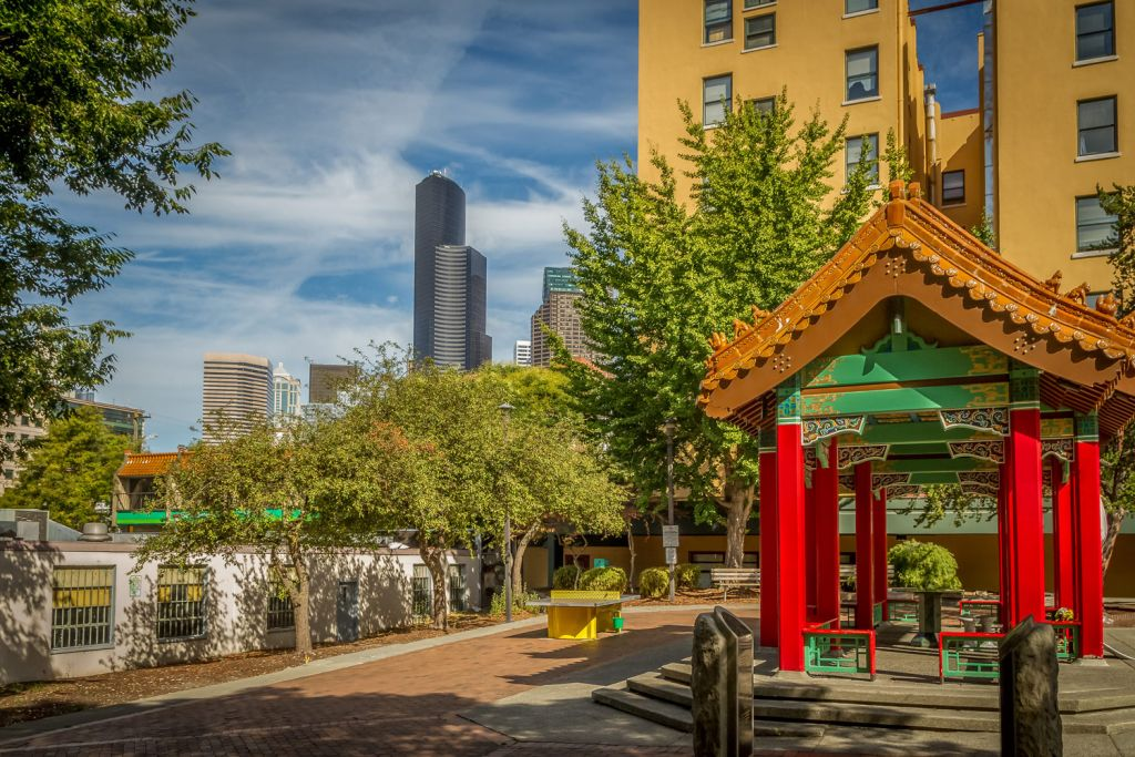 Hing Hay Park in Chinatown, Seattle.