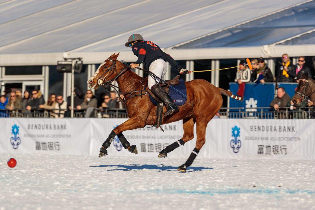 Intocat in action at the 2020 Snow Polo World Cup Kitzbühel