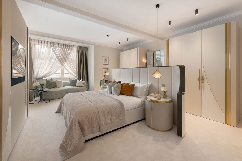 Master bedroom inside the One Point Six Cadogan Gardens property