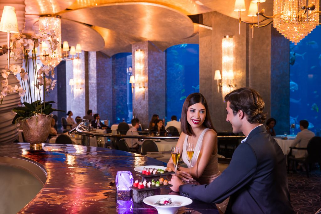 Inside the Ossiano underwater seafood restaurant at Atlantis The Palm