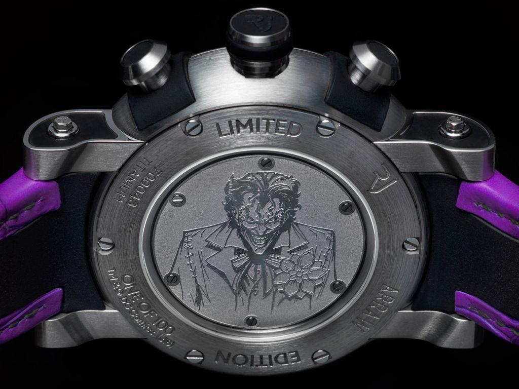 Rear case of RJ Joker watch showing engraving