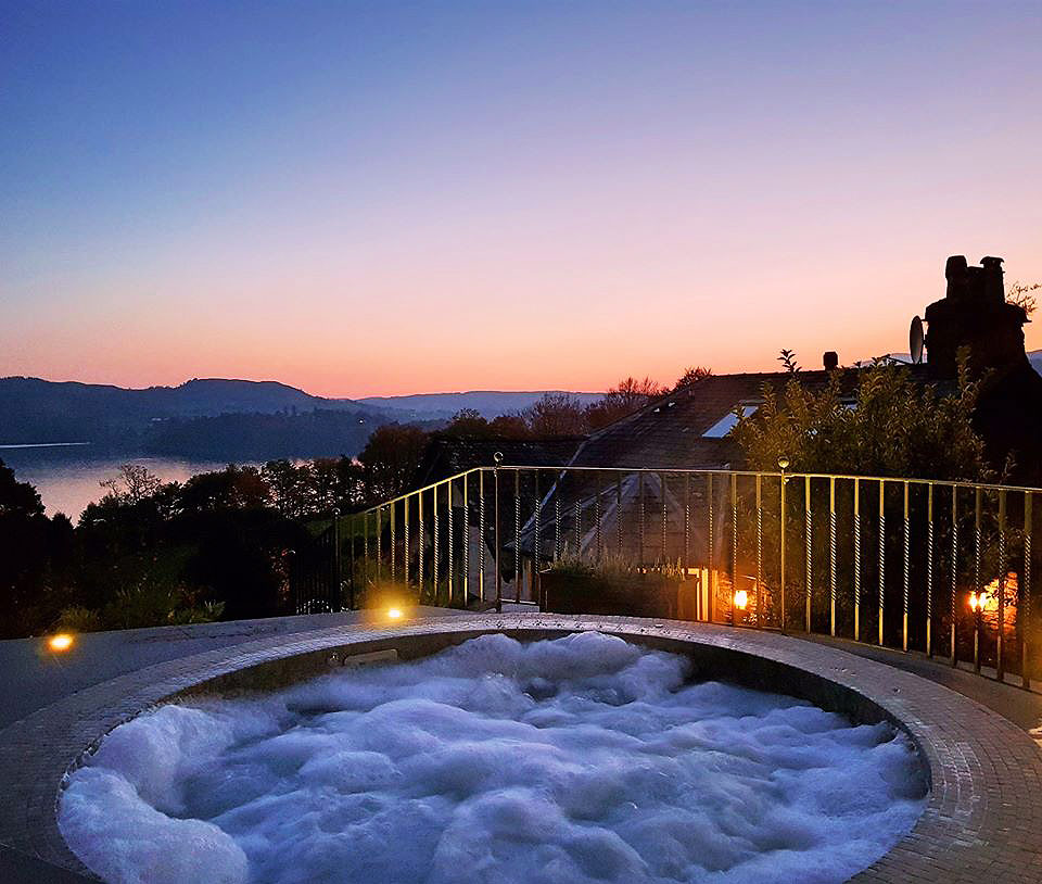 The Outside hot tub at the Samling in the Lake District