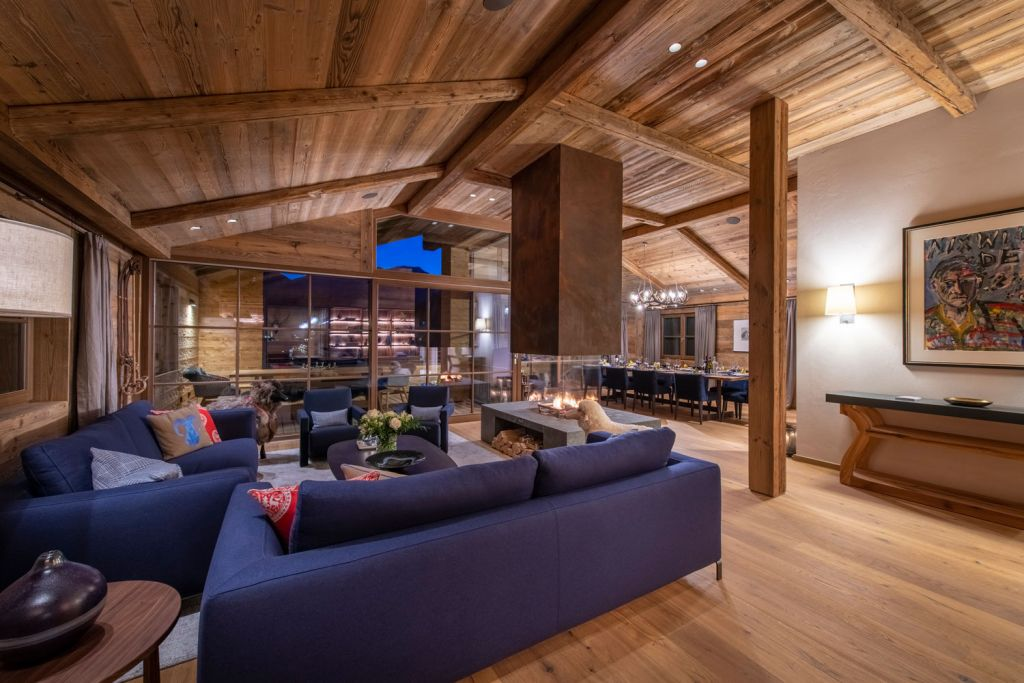 The main lounge and dining area for the Bramble Ski luxury chalets