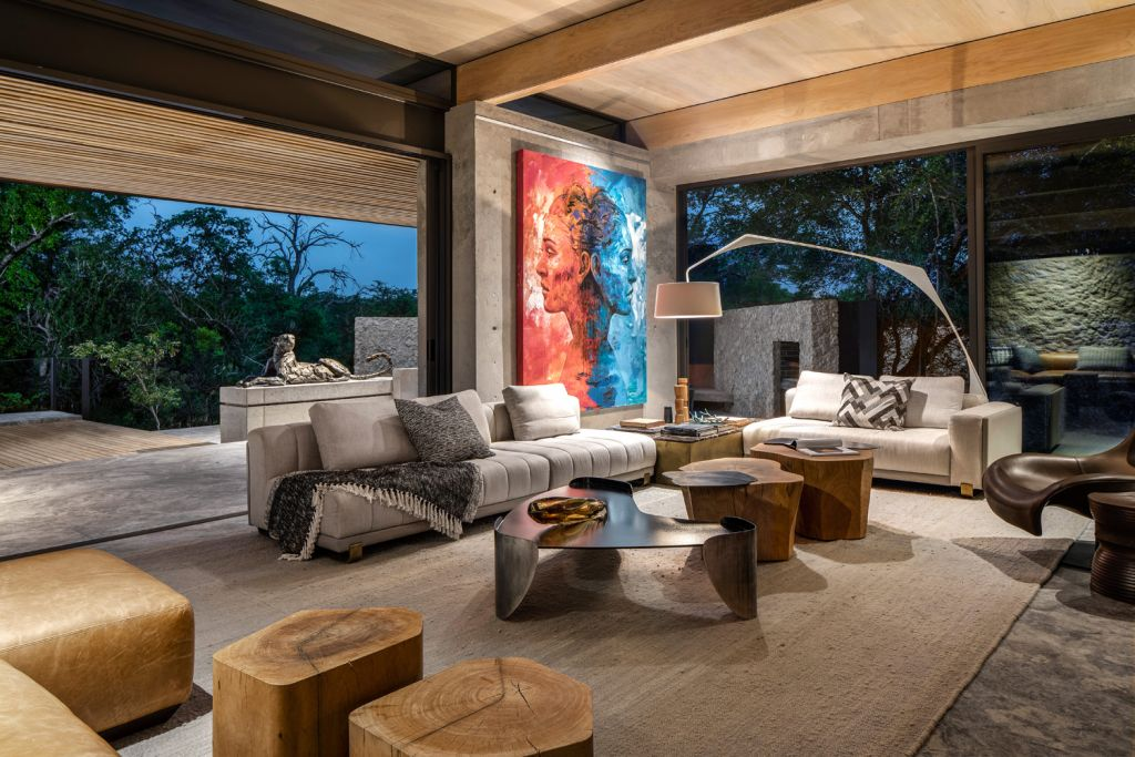 Cheetah Plains Sabi Sand Living room with modern art